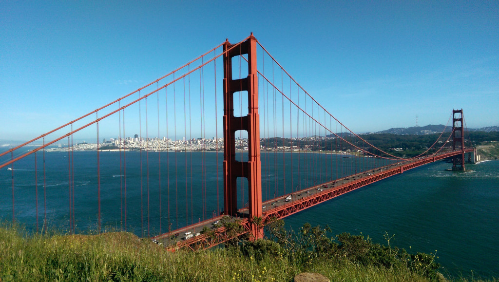 Sightseeing in San Francisco - view of Golden Gate Bridge