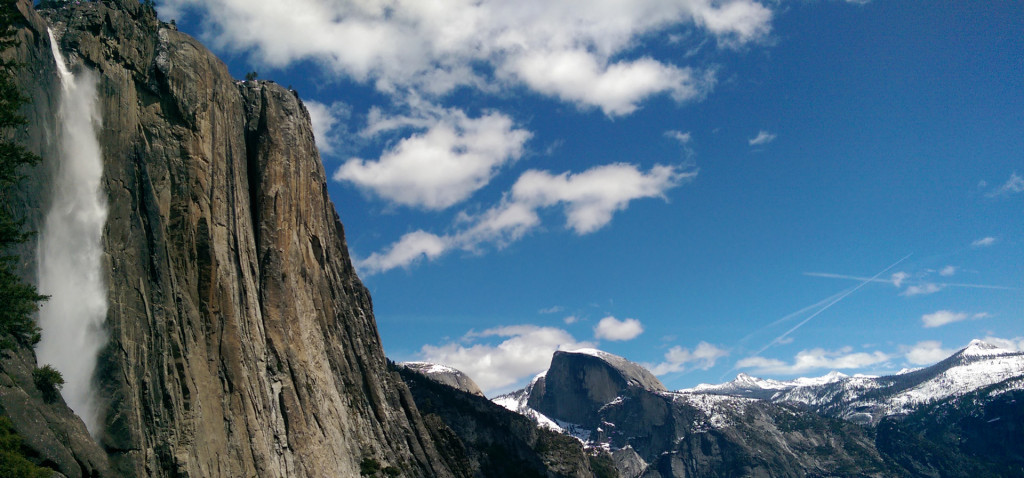 Hiking in Yosemite - view-Half-Dome-(from-half-way-up-falls)