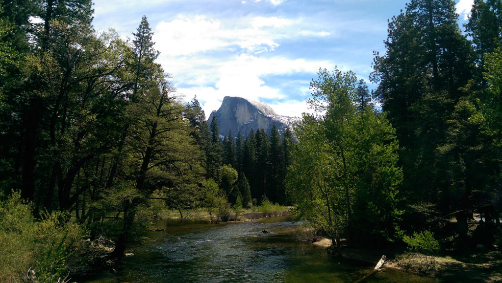 Hiking in Yosemite  - view-of-Half-Dome-(from-bridge)